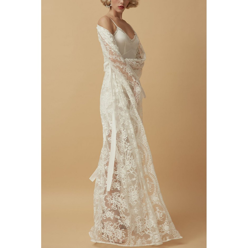 LACE MAXI PEIGNOIR IN LIGHT IVORY