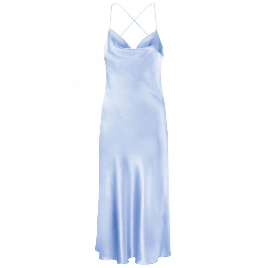 COWL NECK OPEN BACK SILK MIDI DRESS IN LIGHT BLUE