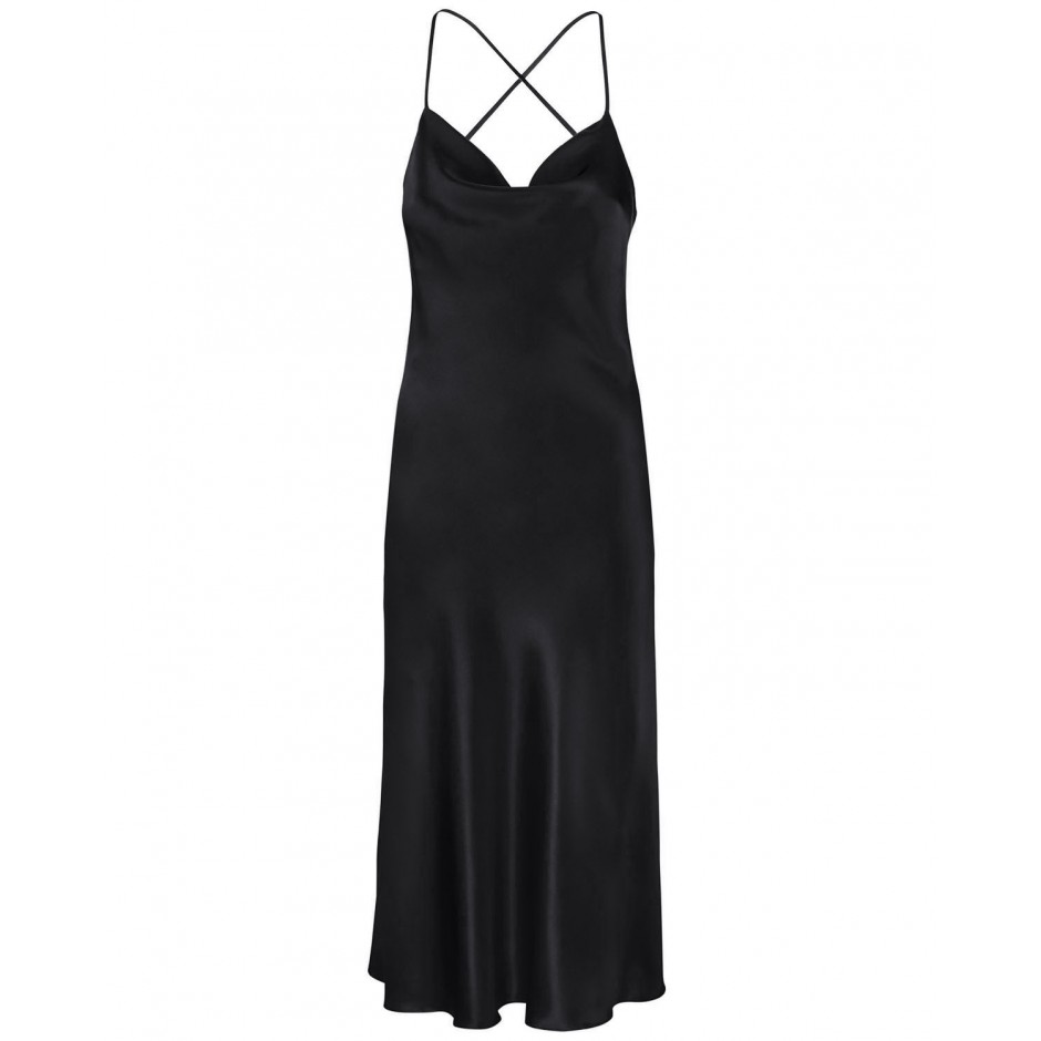 COWL NECK OPEN BACK SILK MIDI DRESS IN BLACK