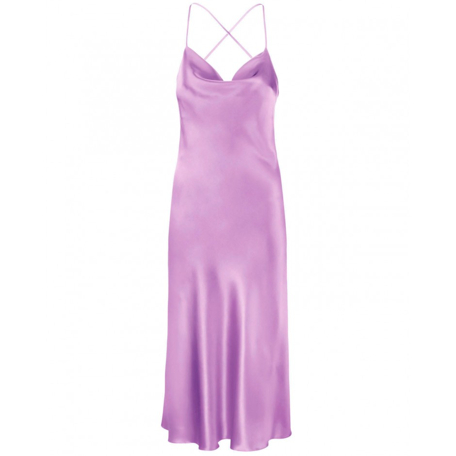 COWL NECK OPEN BACK SILK-BLEND MIDI DRESS IN LILAC
