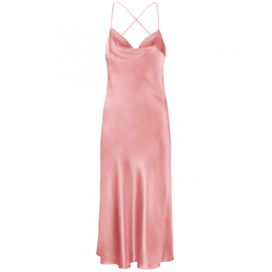COWL NECK OPEN BACK SILK-BLEND MIDI DRESS IN SALMON