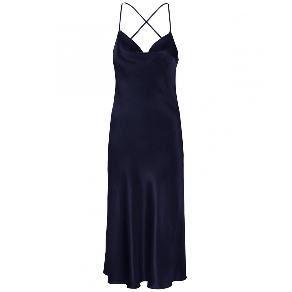 COWL NECK OPEN BACK SILK-BLEND MIDI DRESS IN DARK NAVY BLUE