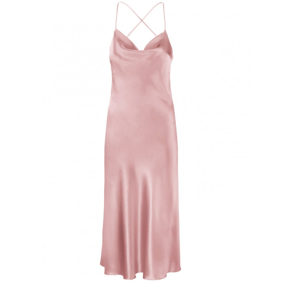 COWL NECK OPEN BACK SILK-BLEND MIDI DRESS IN POWDER PINK