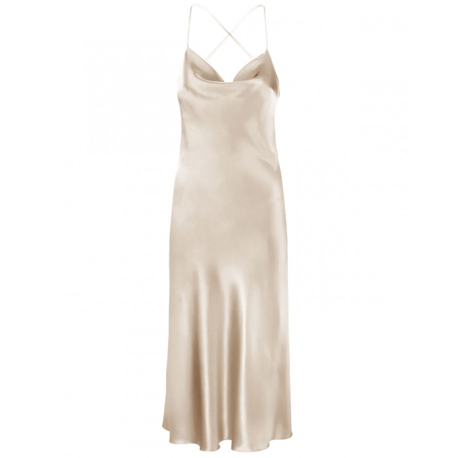 COWL NECK OPEN BACK SILK-BLEND MIDI DRESS IN CHAMPAGNE