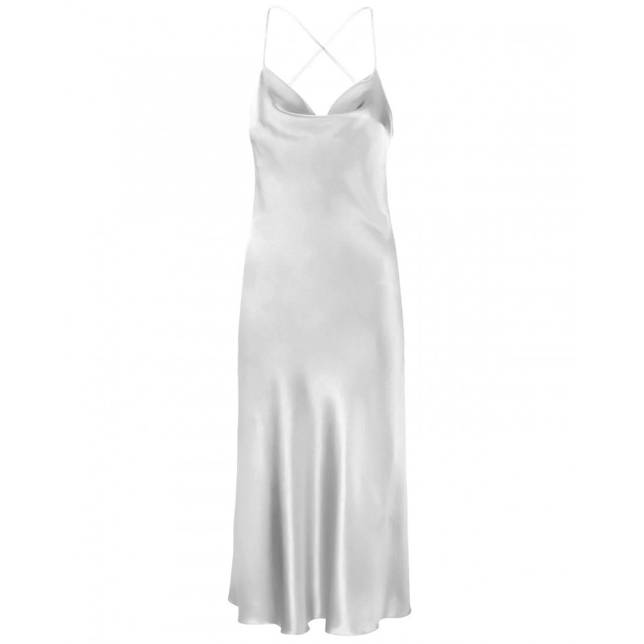 COWL NECK OPEN BACK SILK-BLEND MIDI DRESS IN WHITE