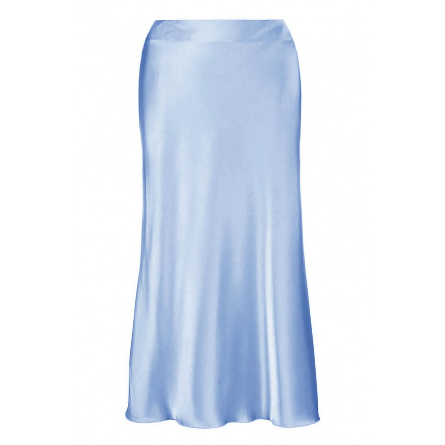 SILK MIDI SKIRT IN LIGHT BLUE