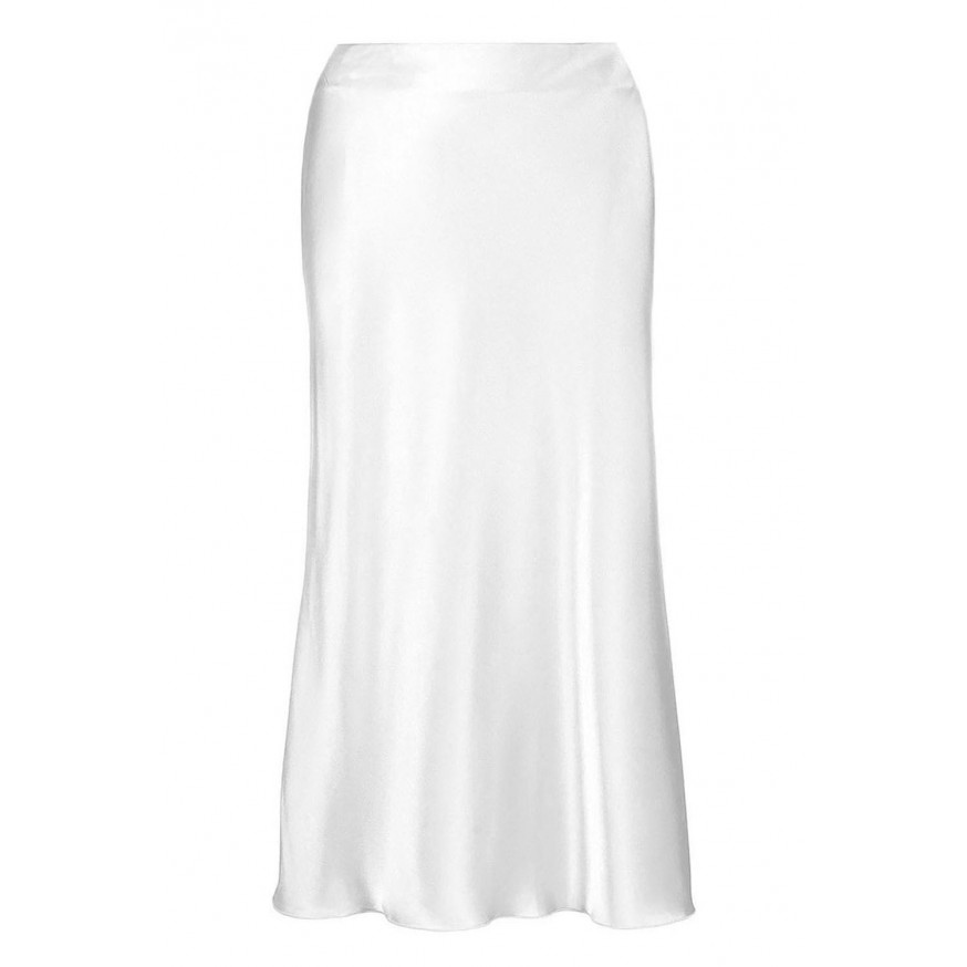 SILK-BLEND MIDI SKIRT IN WHITE