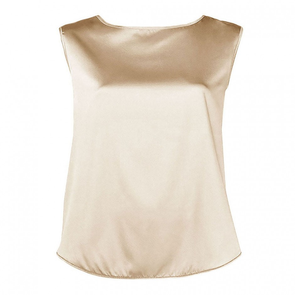 BOAT NECK SLEEVELESS SILK TOP IN GOLD