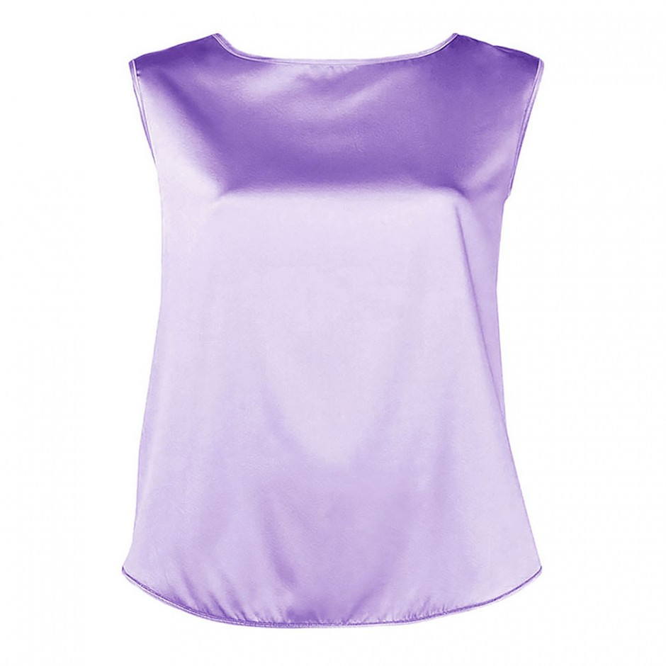 BOAT NECK SLEEVELESS SILK-BLEND TOP IN LILAC
