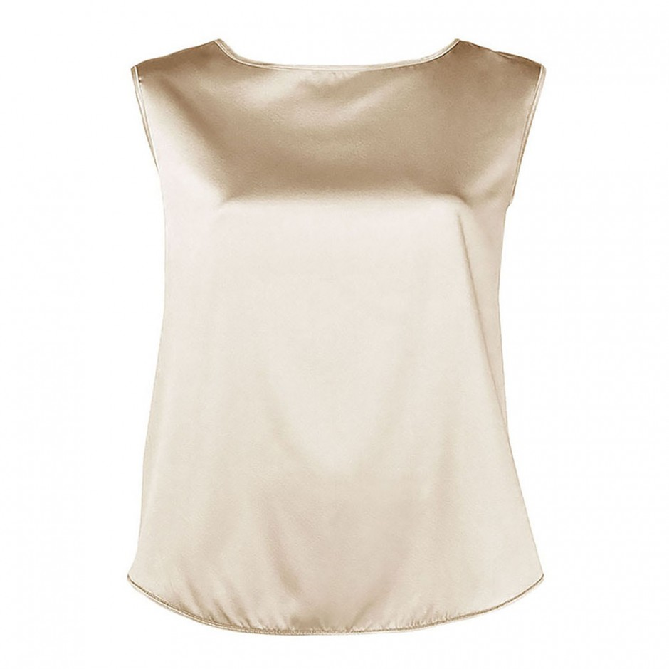 BOAT NECK SLEEVELESS SILK TOP IN CHAMPAGNE